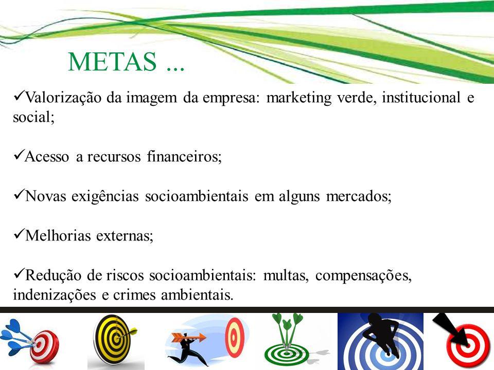 METAS ... Valorização da imagem da empresa: marketing verde, institucional e social; Acesso a recursos financeiros;