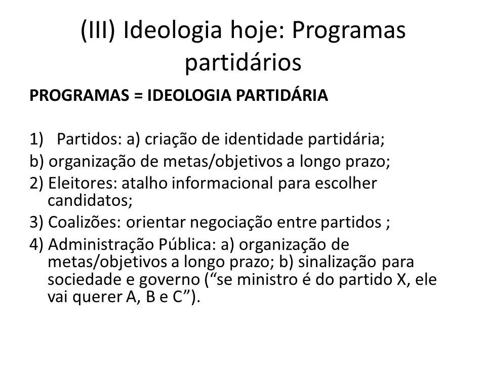 (III) Ideologia hoje: Programas partidários