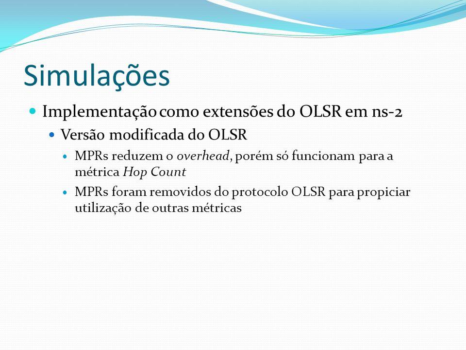 Simulações Implementação como extensões do OLSR em ns-2