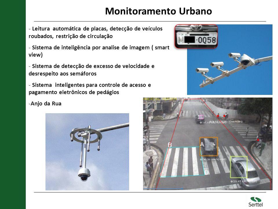 Monitoramento Urbano Leitura automática de placas, detecção de veículos roubados, restrição de circulação.