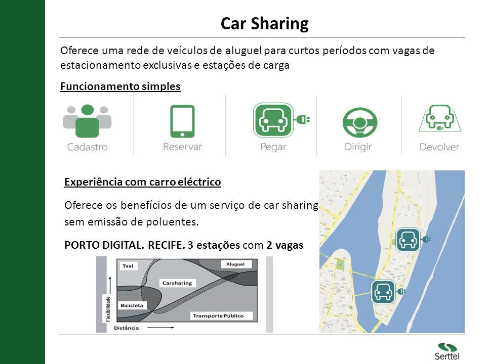 Car Sharing Oferece uma rede de veículos de aluguel para curtos períodos com vagas de estacionamento exclusivas e estações de carga.