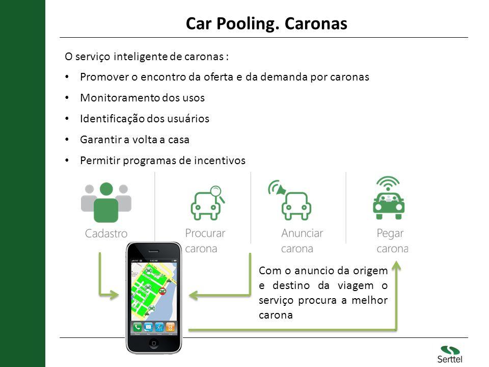 Car Pooling. Caronas O serviço inteligente de caronas :