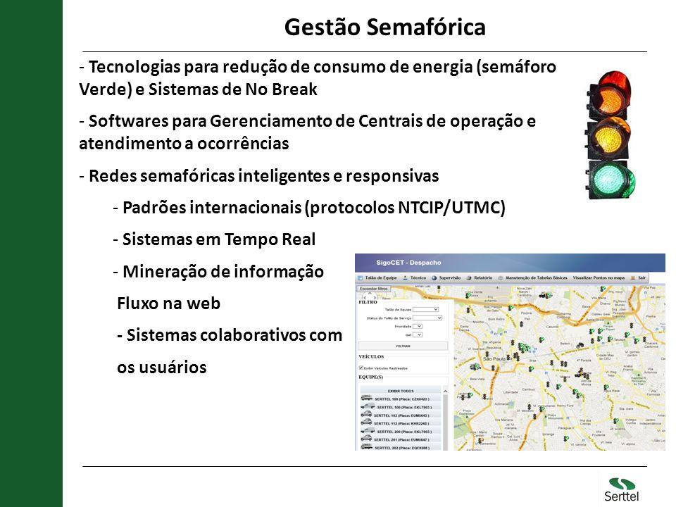 Gestão Semafórica Tecnologias para redução de consumo de energia (semáforo Verde) e Sistemas de No Break.