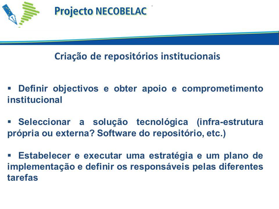 Criação de repositórios institucionais