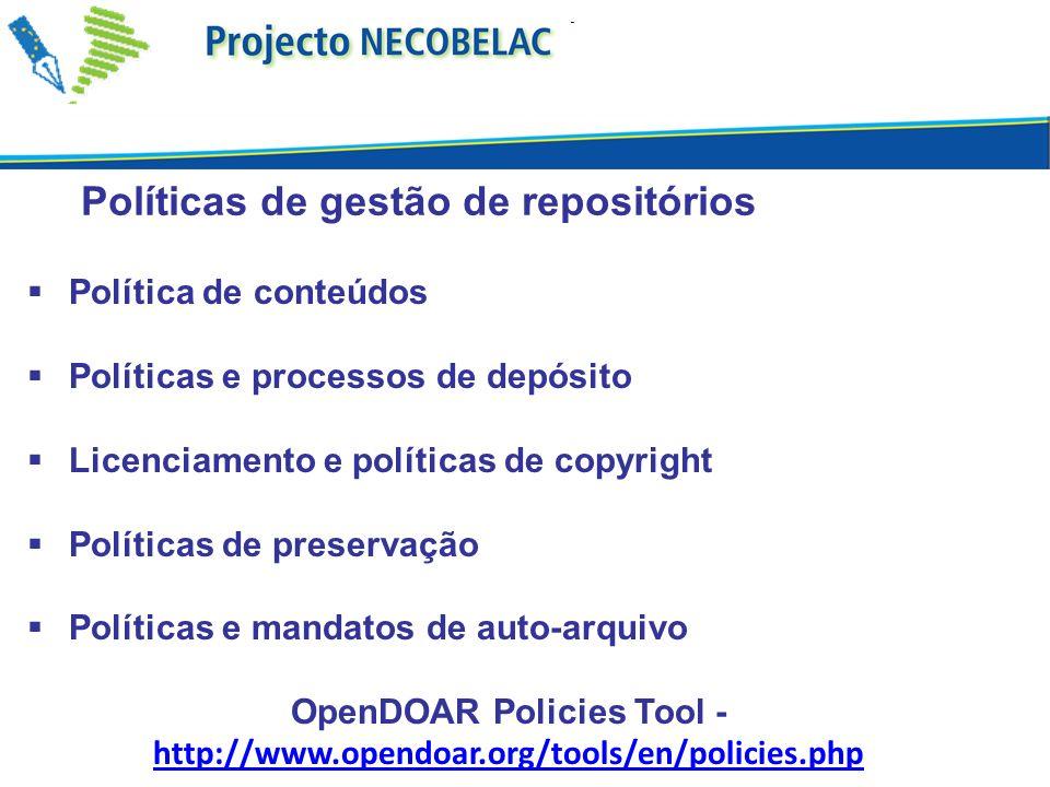 OpenDOAR Policies Tool - http://www.opendoar.org/tools/en/policies.php