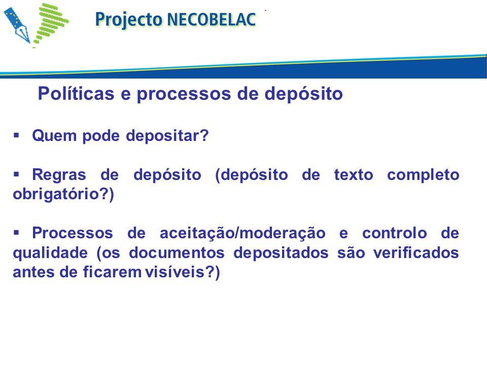 Políticas e processos de depósito