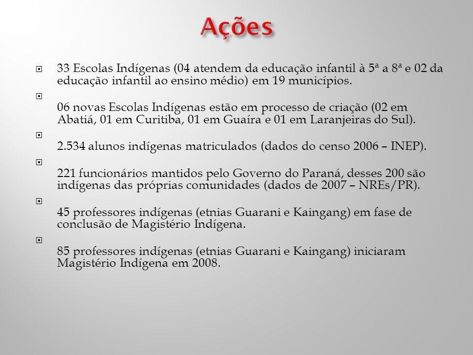 Ações 33 Escolas Indígenas (04 atendem da educação infantil à 5ª a 8ª e 02 da educação infantil ao ensino médio) em 19 municípios.