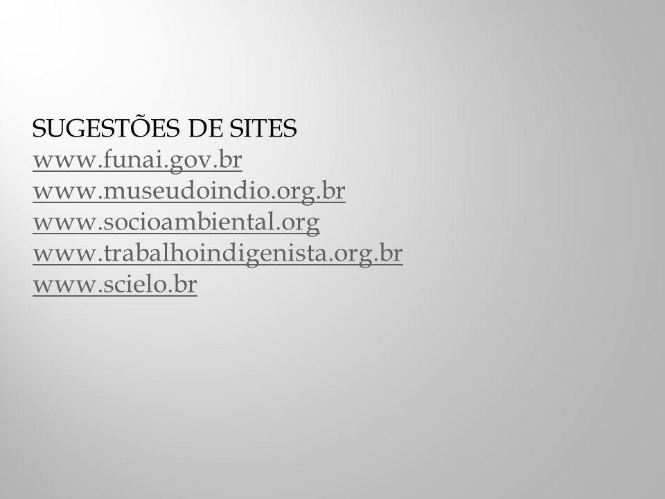 SUGESTÕES DE SITES www.funai.gov.br. www.museudoindio.org.br. www.socioambiental.org. www.trabalhoindigenista.org.br.
