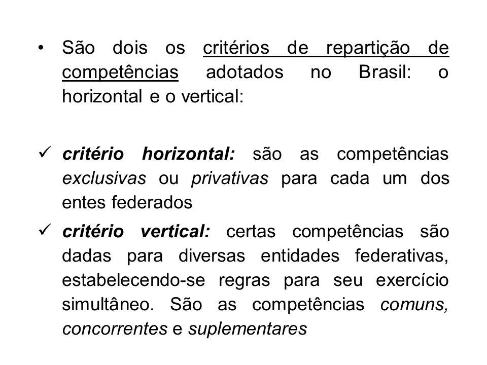 São dois os critérios de repartição de competências adotados no Brasil: o horizontal e o vertical: