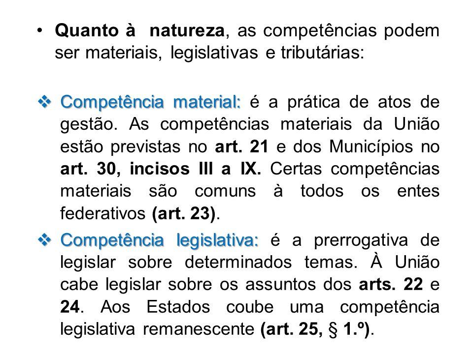 Quanto à natureza, as competências podem ser materiais, legislativas e tributárias: