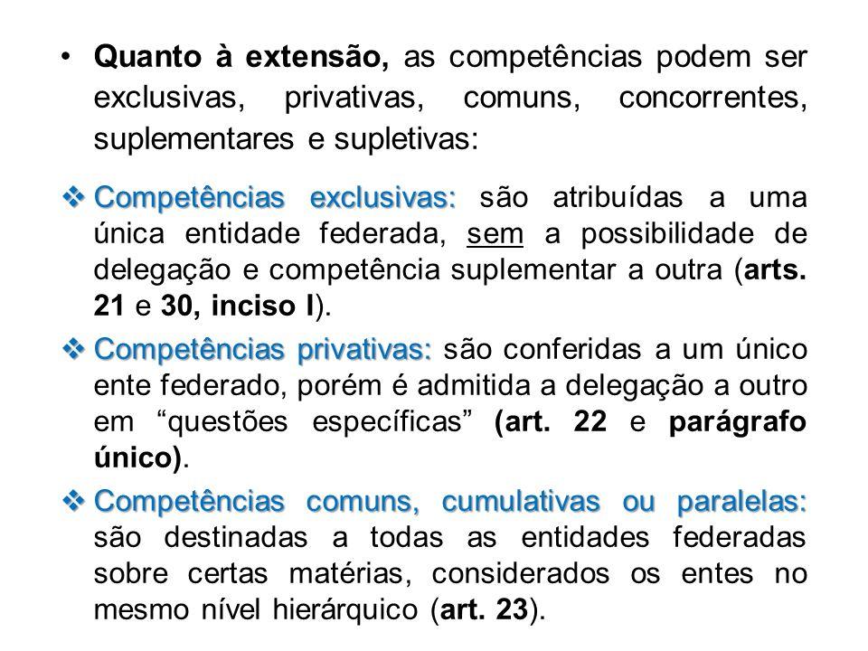 Quanto à extensão, as competências podem ser exclusivas, privativas, comuns, concorrentes, suplementares e supletivas: