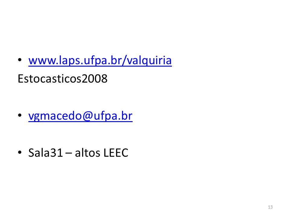 www.laps.ufpa.br/valquiria Estocasticos2008 vgmacedo@ufpa.br Sala31 – altos LEEC