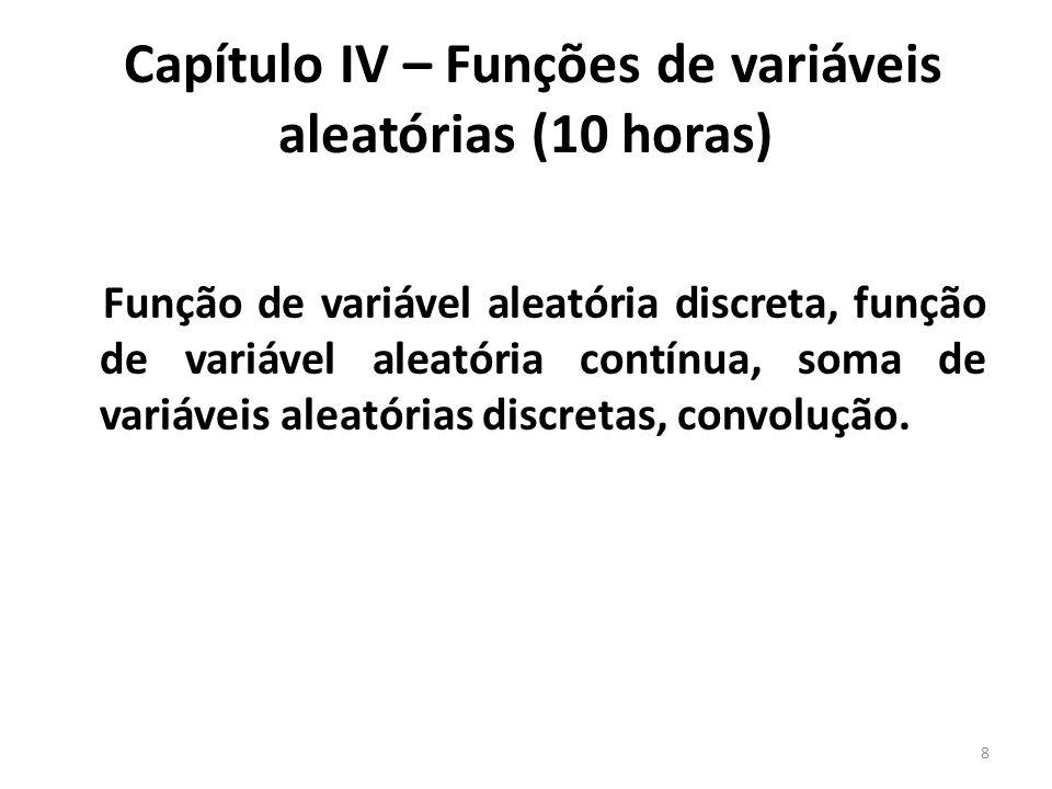 Capítulo IV – Funções de variáveis aleatórias (10 horas)