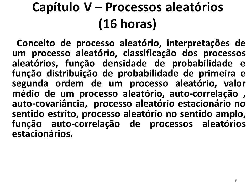 Capítulo V – Processos aleatórios (16 horas)