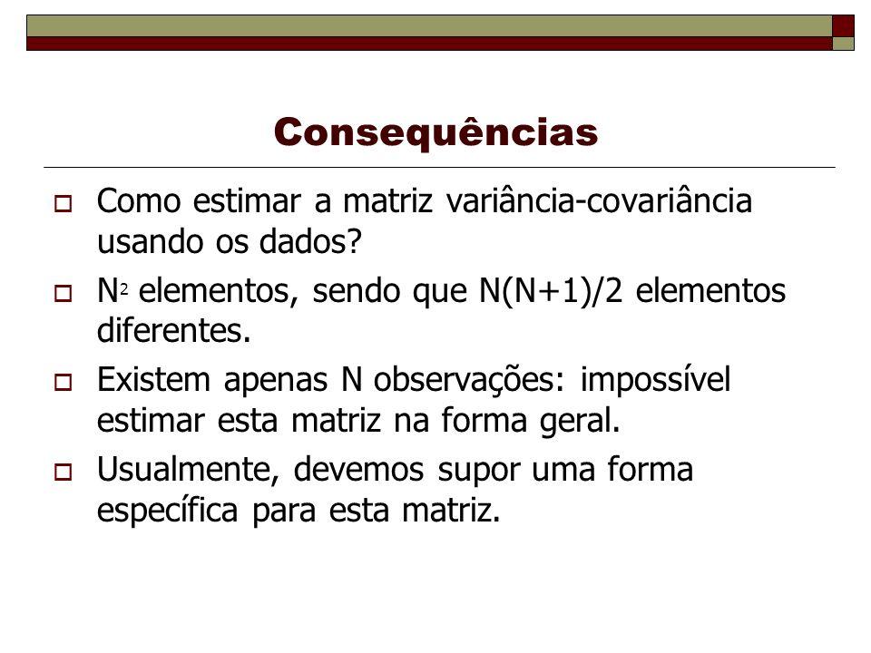 Consequências Como estimar a matriz variância-covariância usando os dados N2 elementos, sendo que N(N+1)/2 elementos diferentes.