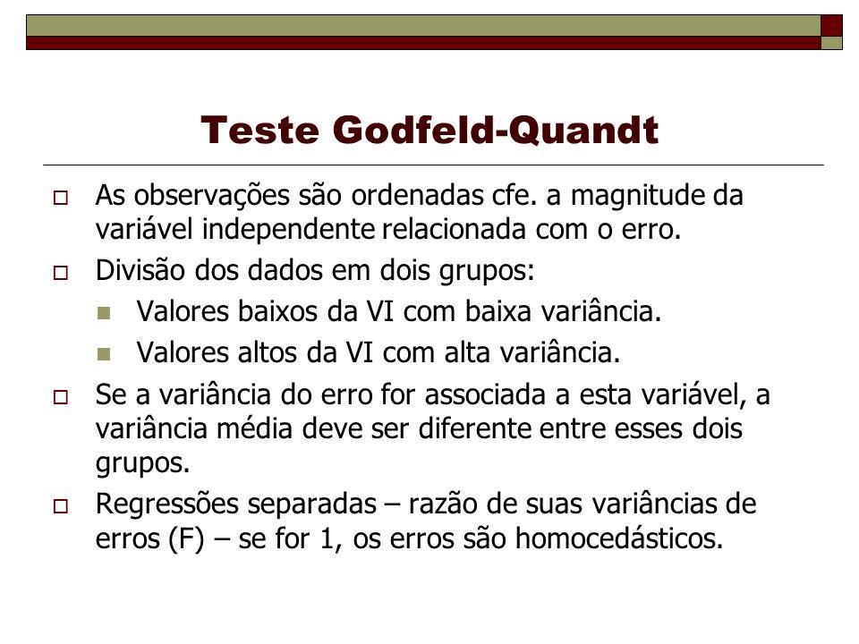 Teste Godfeld-Quandt As observações são ordenadas cfe. a magnitude da variável independente relacionada com o erro.