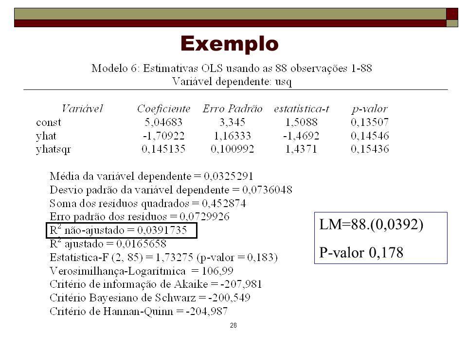 Exemplo LM=88.(0,0392) P-valor 0,178