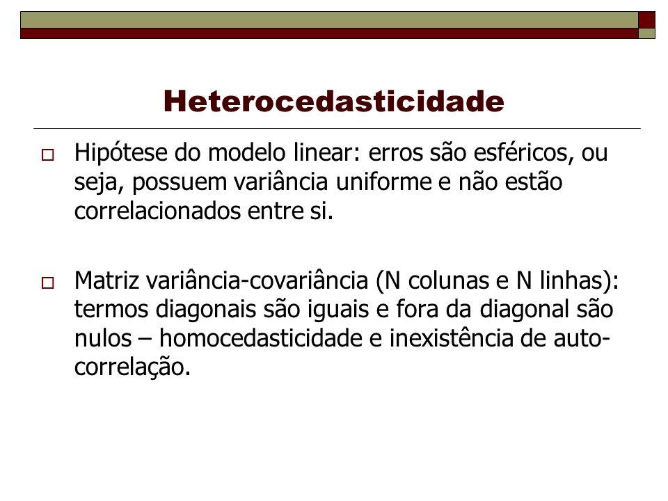 Heterocedasticidade Hipótese do modelo linear: erros são esféricos, ou seja, possuem variância uniforme e não estão correlacionados entre si.