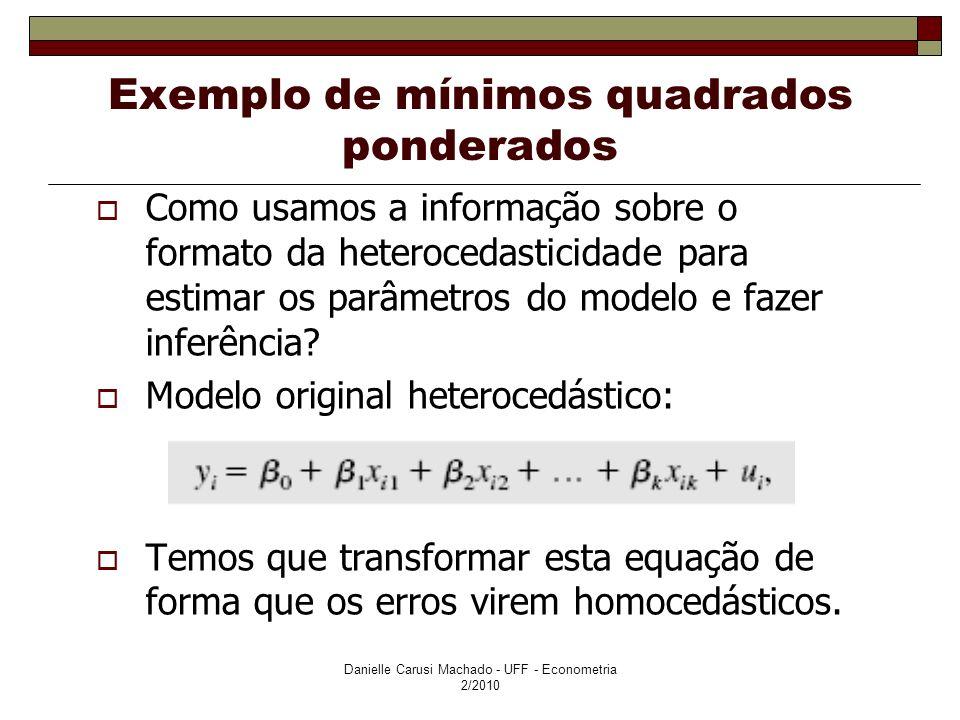 Exemplo de mínimos quadrados ponderados