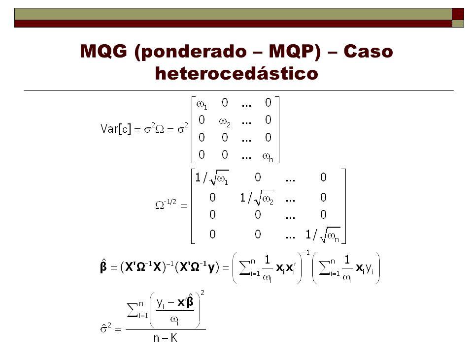 MQG (ponderado – MQP) – Caso heterocedástico