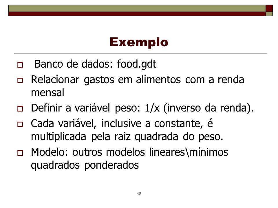 Exemplo Banco de dados: food.gdt