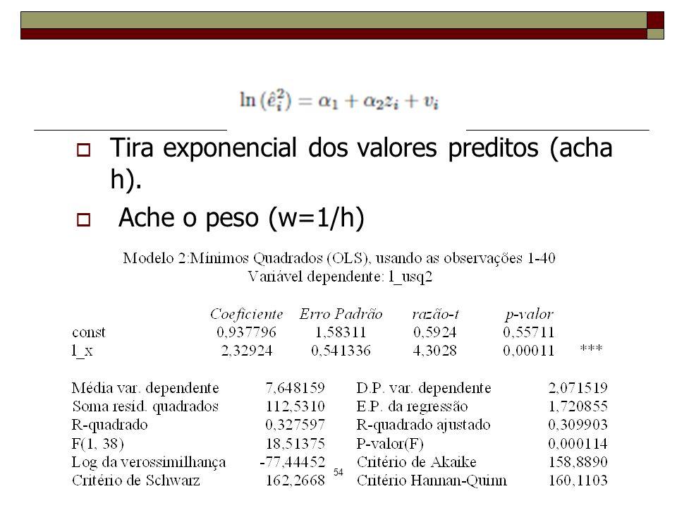 Exemplo Tira exponencial dos valores preditos (acha h).