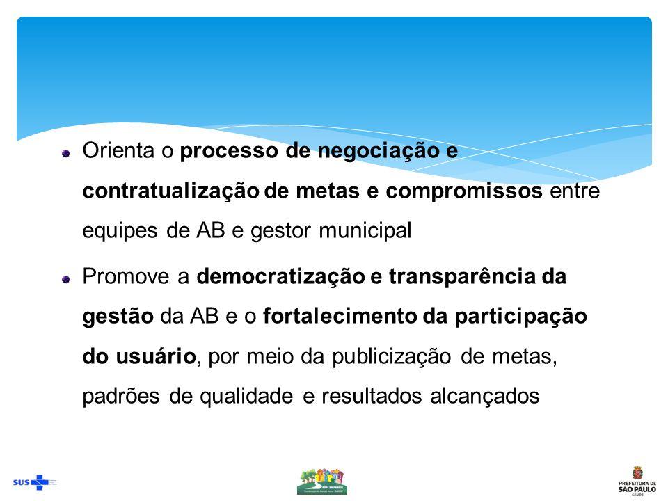Orienta o processo de negociação e contratualização de metas e compromissos entre equipes de AB e gestor municipal
