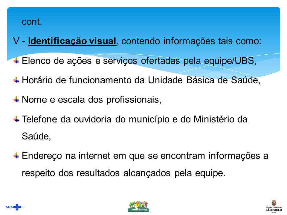 cont. V - Identificação visual, contendo informações tais como: Elenco de ações e serviços ofertadas pela equipe/UBS,