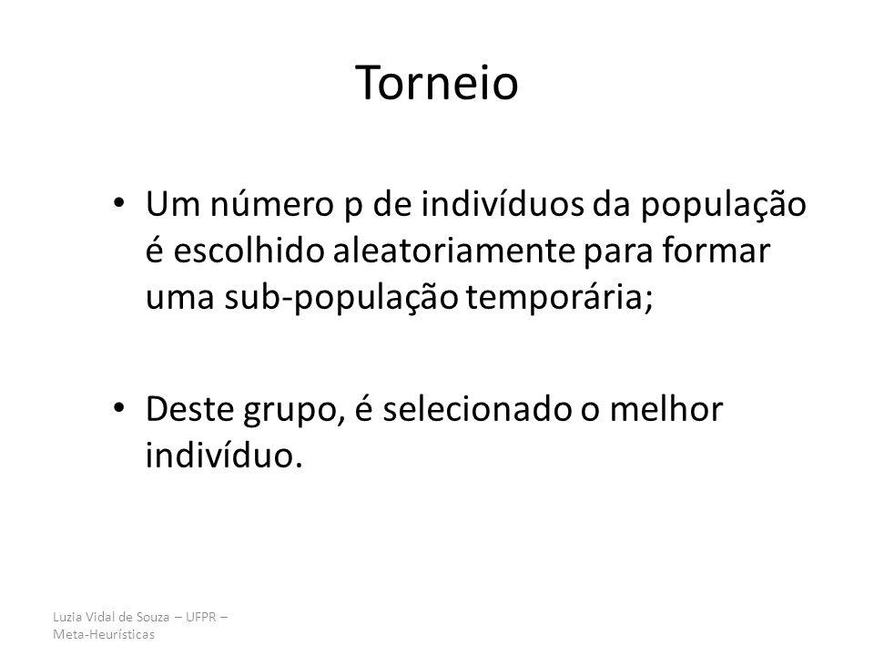 Torneio Um número p de indivíduos da população é escolhido aleatoriamente para formar uma sub-população temporária;