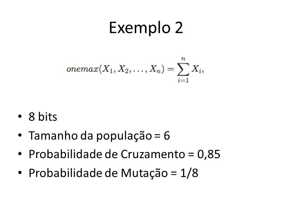 Exemplo 2 8 bits Tamanho da população = 6