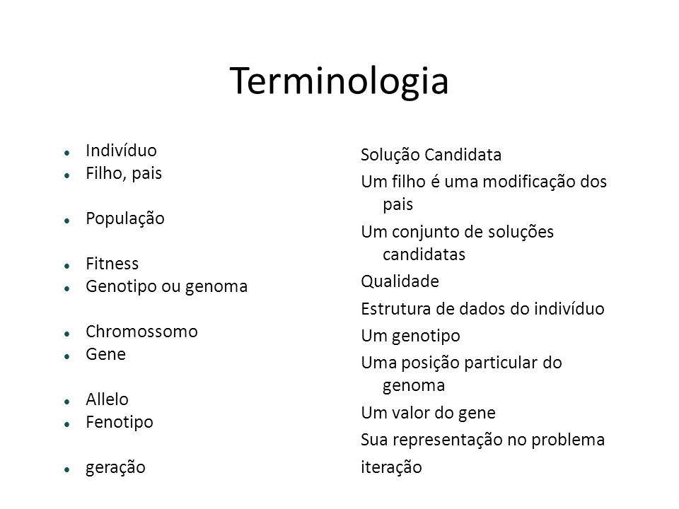 Terminologia Indivíduo Filho, pais População Fitness