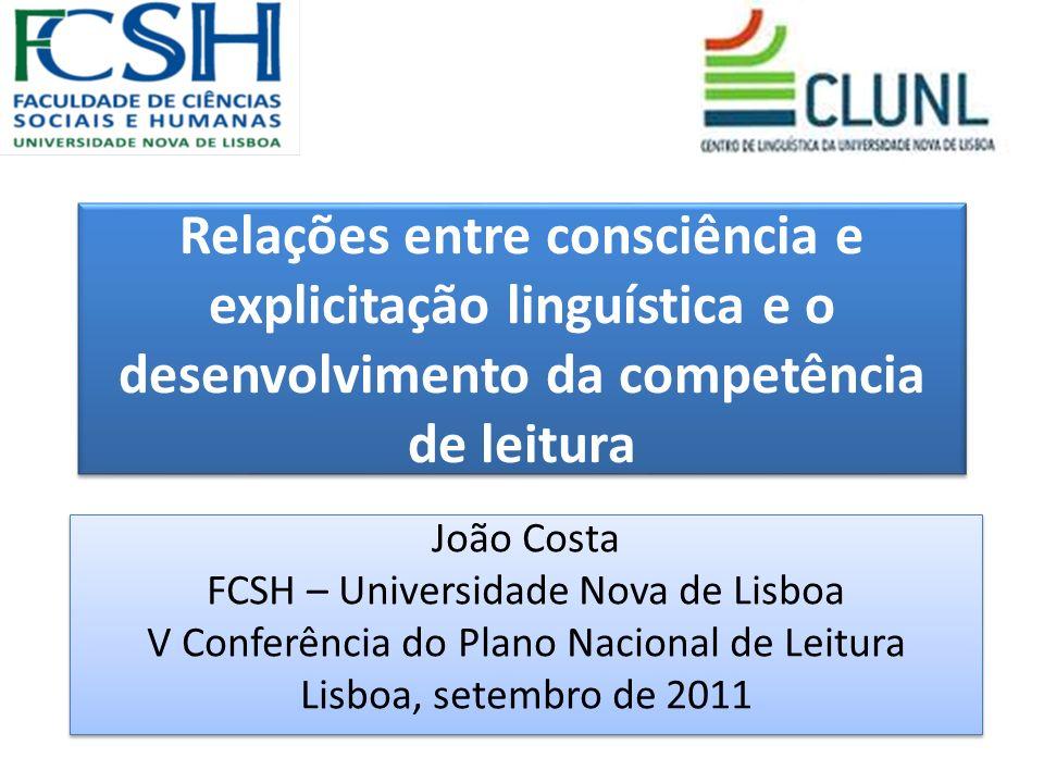 Relações entre consciência e explicitação linguística e o desenvolvimento da competência de leitura