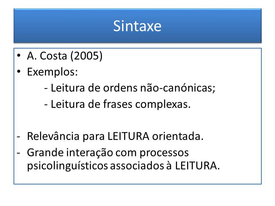 Sintaxe A. Costa (2005) Exemplos: - Leitura de ordens não-canónicas;