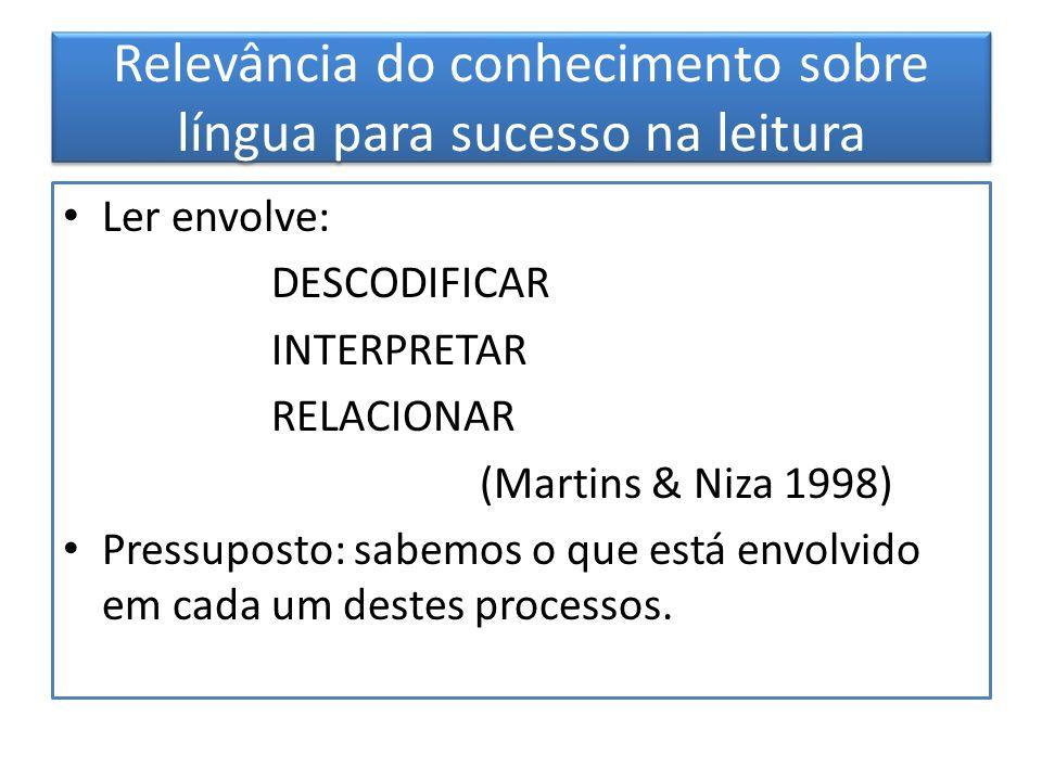 Relevância do conhecimento sobre língua para sucesso na leitura