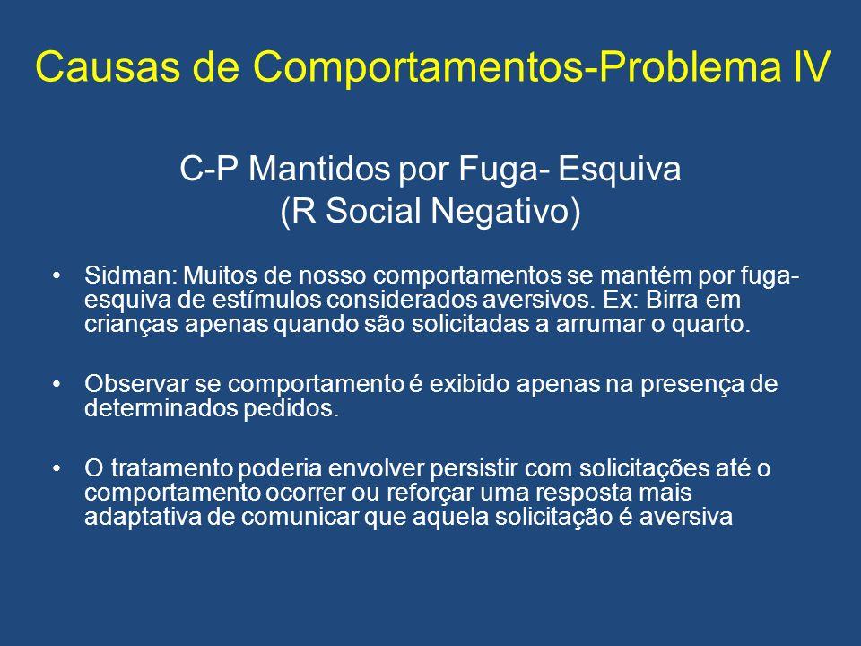 Causas de Comportamentos-Problema IV