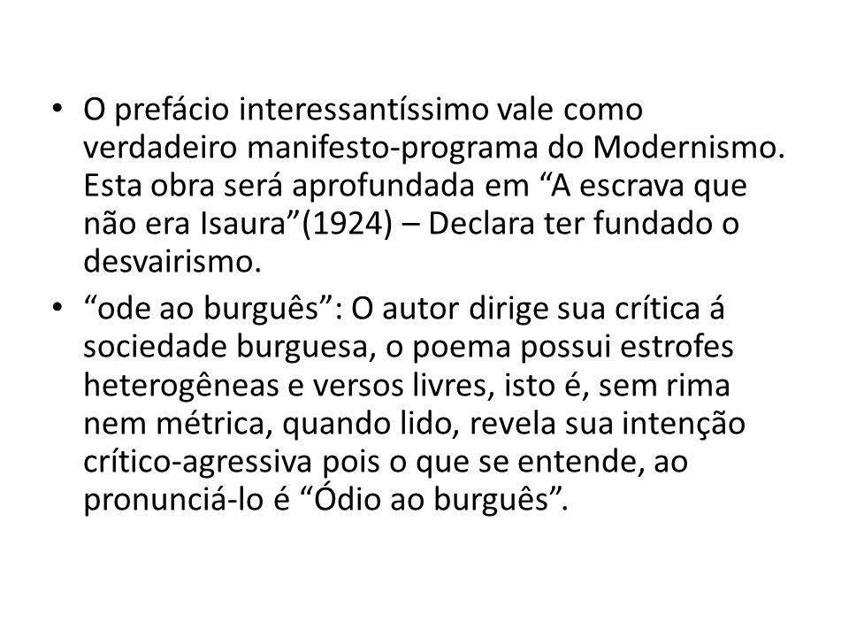 O prefácio interessantíssimo vale como verdadeiro manifesto-programa do Modernismo. Esta obra será aprofundada em A escrava que não era Isaura (1924) – Declara ter fundado o desvairismo.