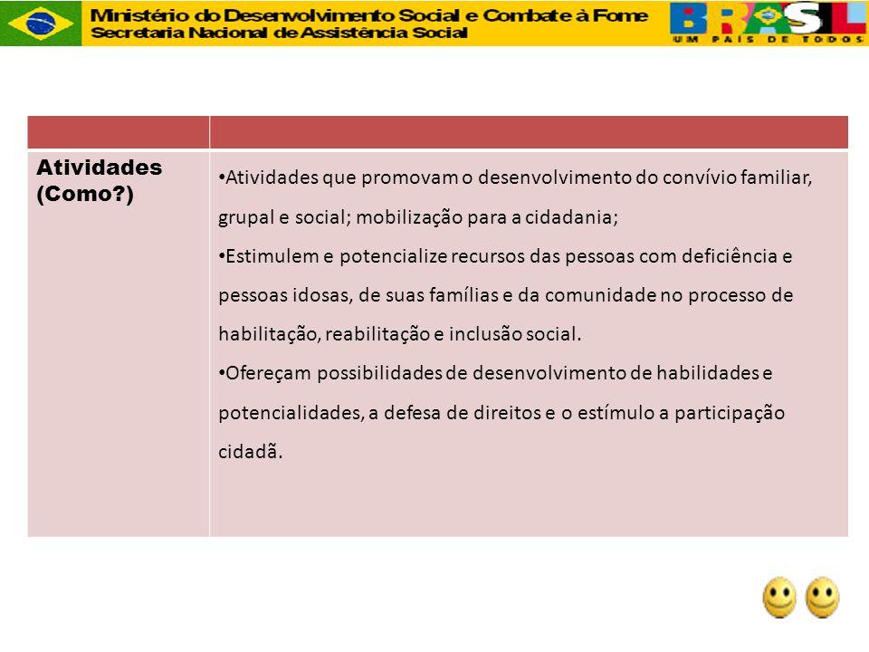 Atividades (Como ) Atividades que promovam o desenvolvimento do convívio familiar, grupal e social; mobilização para a cidadania;