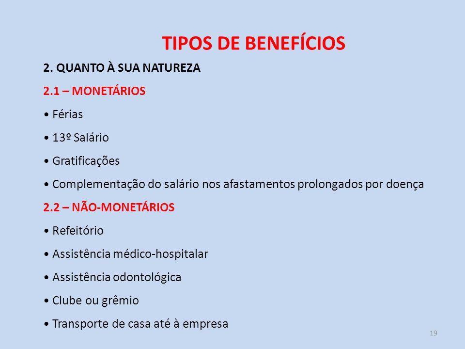 TIPOS DE BENEFÍCIOS 2. QUANTO À SUA NATUREZA 2.1 – MONETÁRIOS Férias