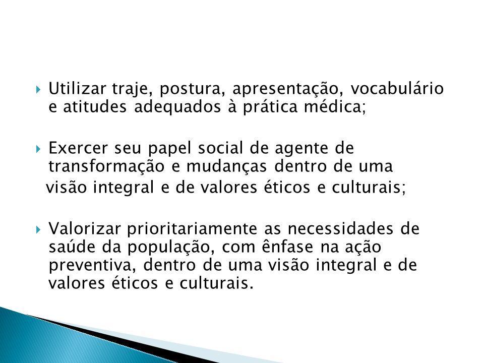 Utilizar traje, postura, apresentação, vocabulário e atitudes adequados à prática médica;