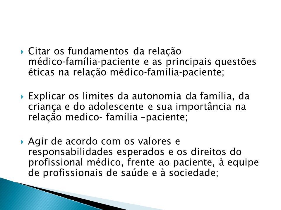 Citar os fundamentos da relação médico‐família‐paciente e as principais questões éticas na relação médico‐família‐paciente;