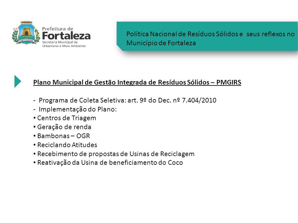 Política Nacional de Resíduos Sólidos e seus reflexos no Município de Fortaleza