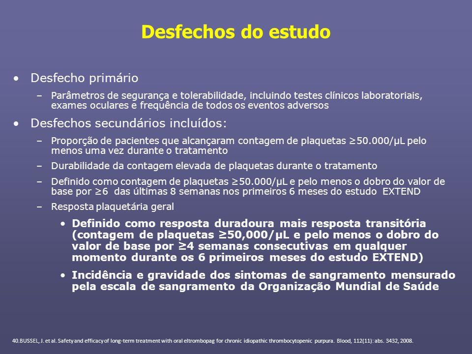 Desfechos do estudo Desfecho primário Desfechos secundários incluídos: