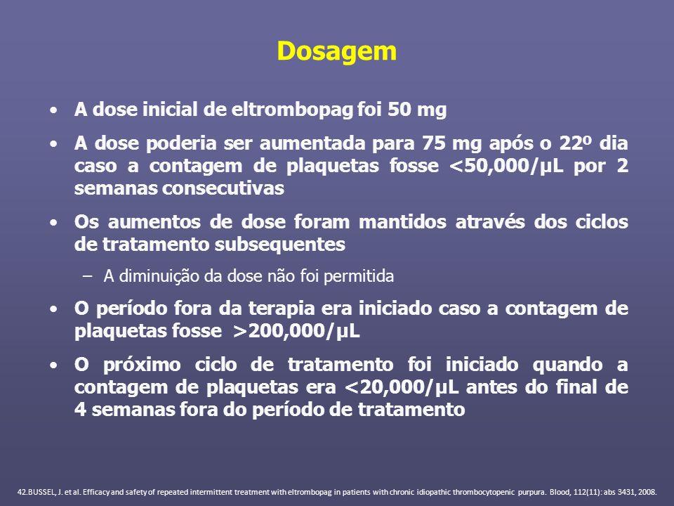 Dosagem A dose inicial de eltrombopag foi 50 mg