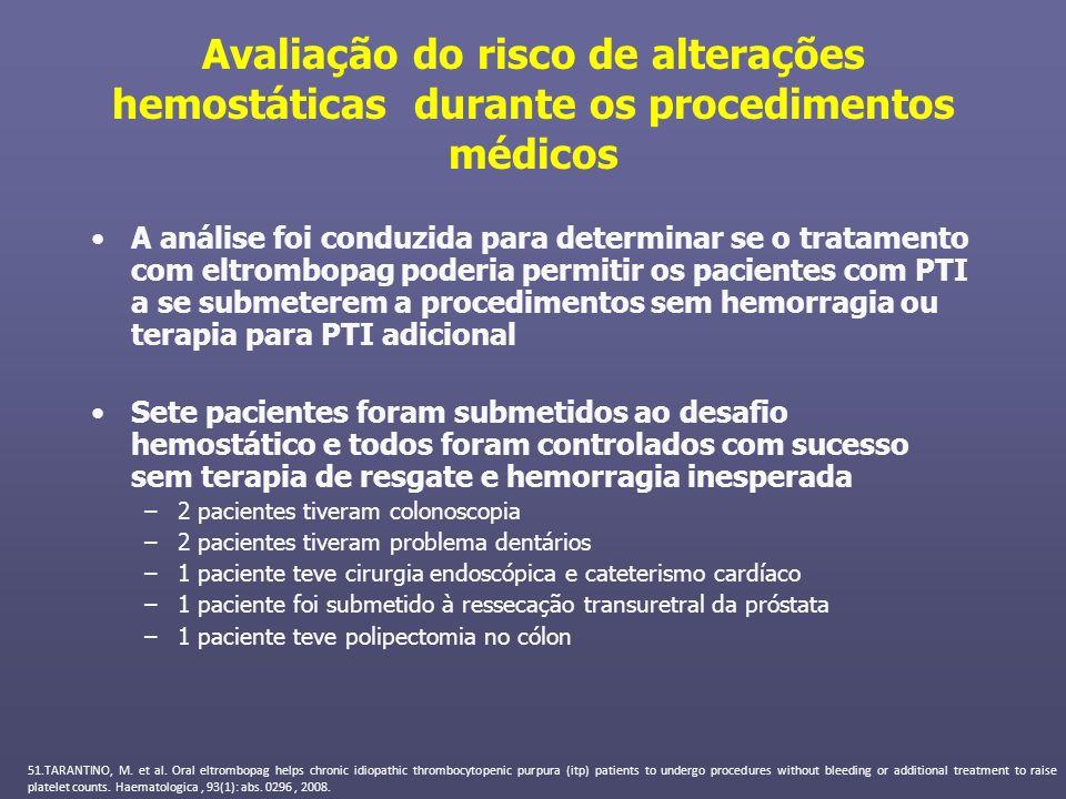 Avaliação do risco de alterações hemostáticas durante os procedimentos médicos