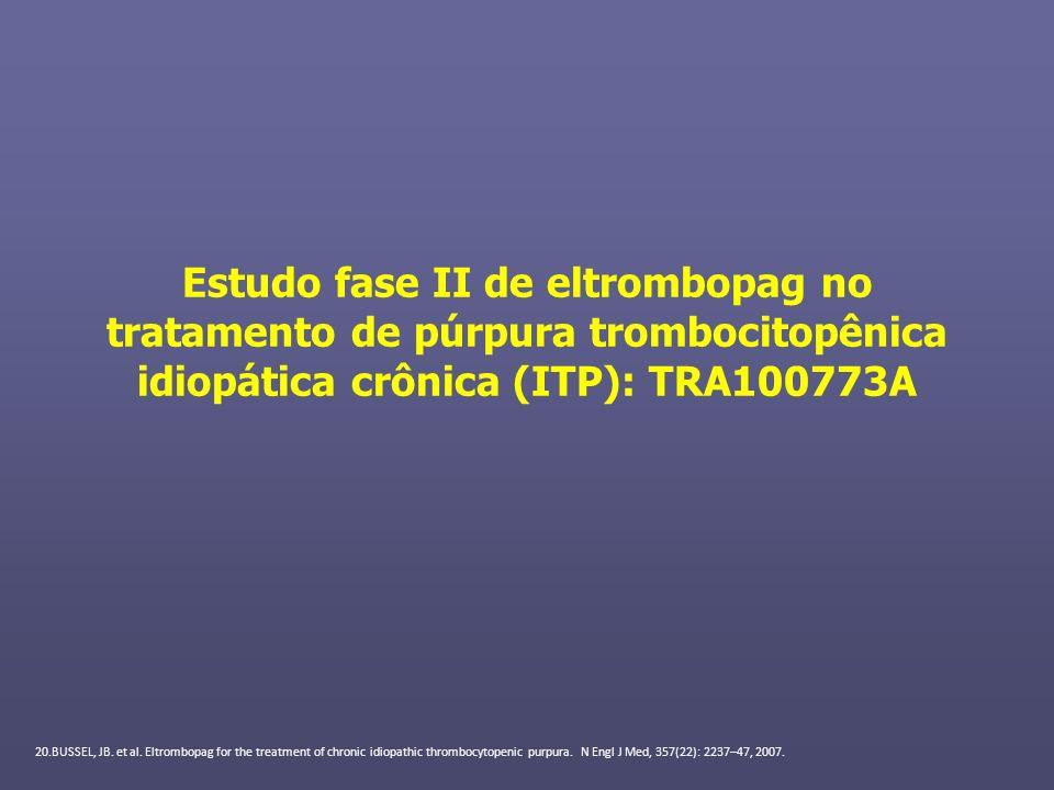 Estudo fase II de eltrombopag no tratamento de púrpura trombocitopênica idiopática crônica (ITP): TRA100773A