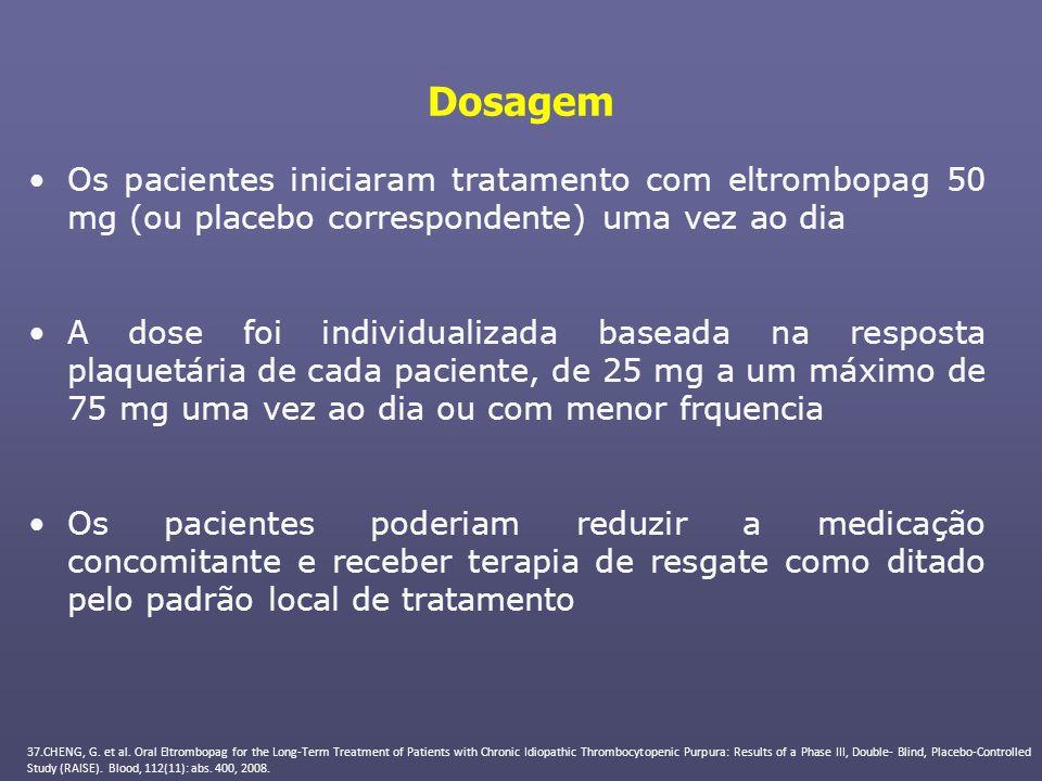 Dosagem Os pacientes iniciaram tratamento com eltrombopag 50 mg (ou placebo correspondente) uma vez ao dia.