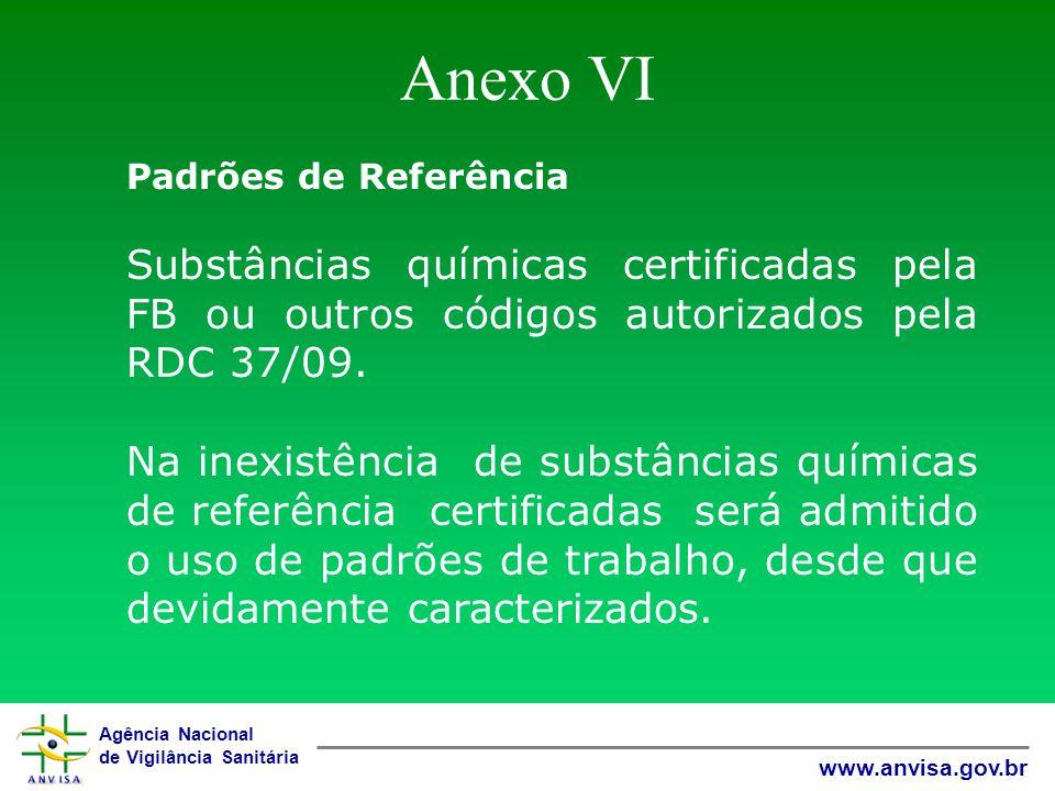 Anexo VI Padrões de Referência. Substâncias químicas certificadas pela FB ou outros códigos autorizados pela RDC 37/09.