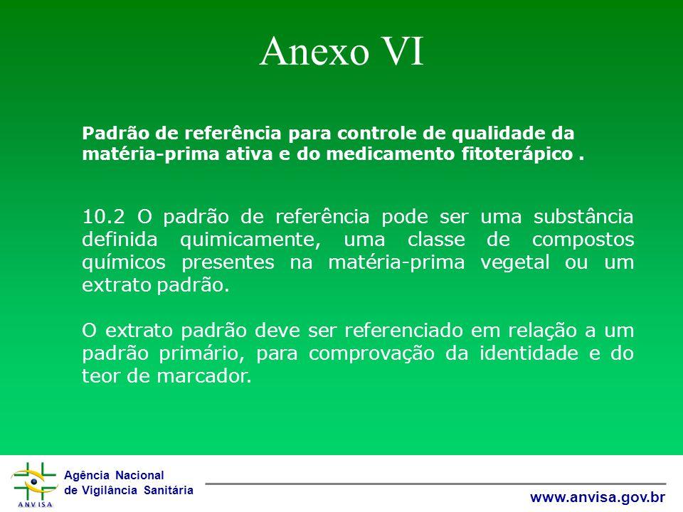 Anexo VI Padrão de referência para controle de qualidade da matéria-prima ativa e do medicamento fitoterápico .