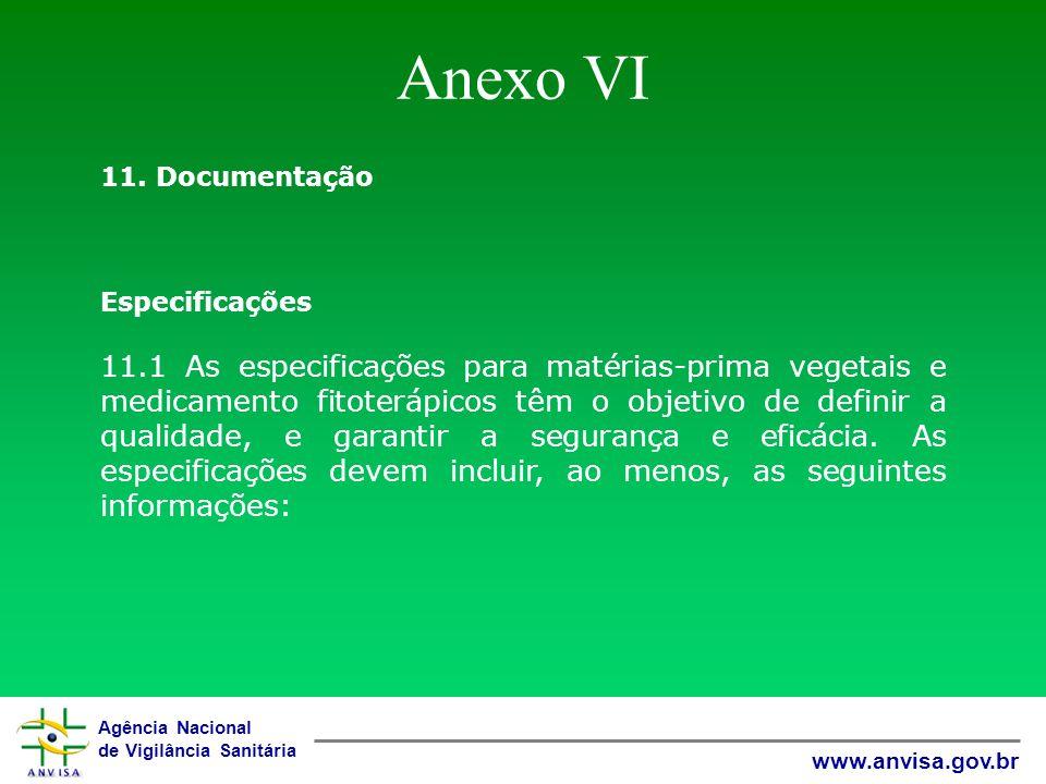 Anexo VI 11. Documentação. Especificações.