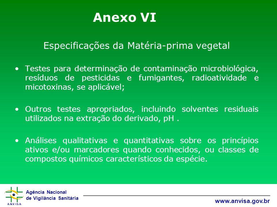 Especificações da Matéria-prima vegetal